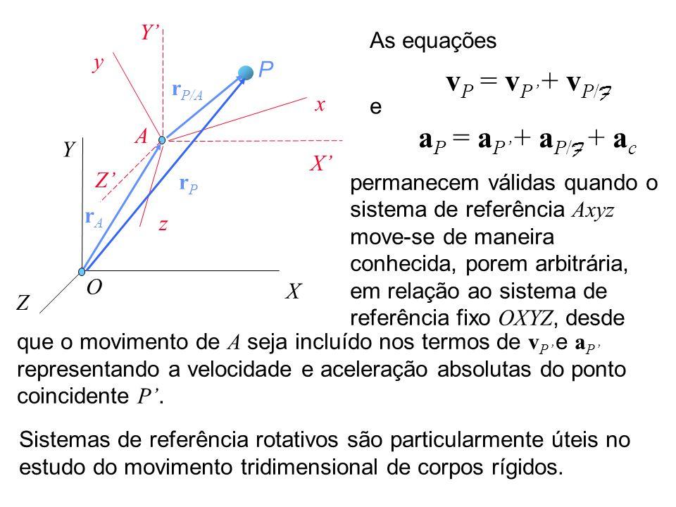 X Y Z x y z O P A X Y Z rArA rPrP r P/A a P = a P + a P/ F + a c v P = v P + v P/ F As equações e permanecem válidas quando o sistema de referência Ax