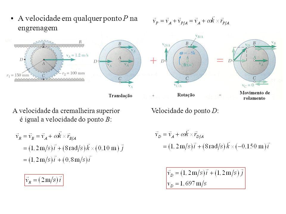A velocidade da cremalheira superior é igual a velocidade do ponto B: Velocidade do ponto D: A velocidade em qualquer ponto P na engrenagem