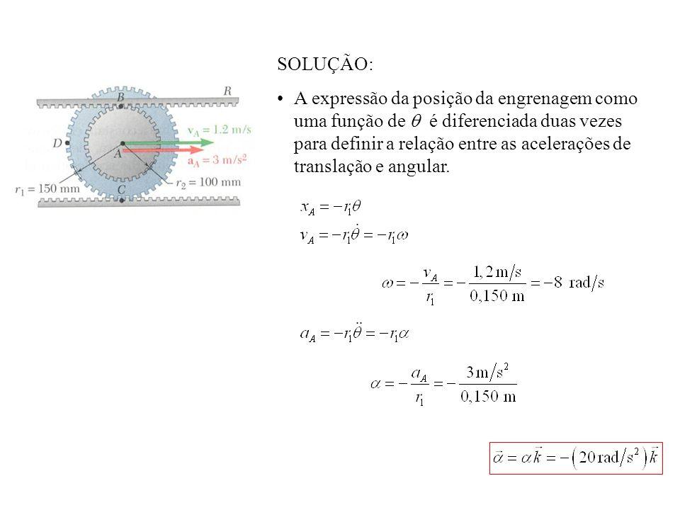 SOLUÇÃO: A expressão da posição da engrenagem como uma função de é diferenciada duas vezes para definir a relação entre as acelerações de translação e