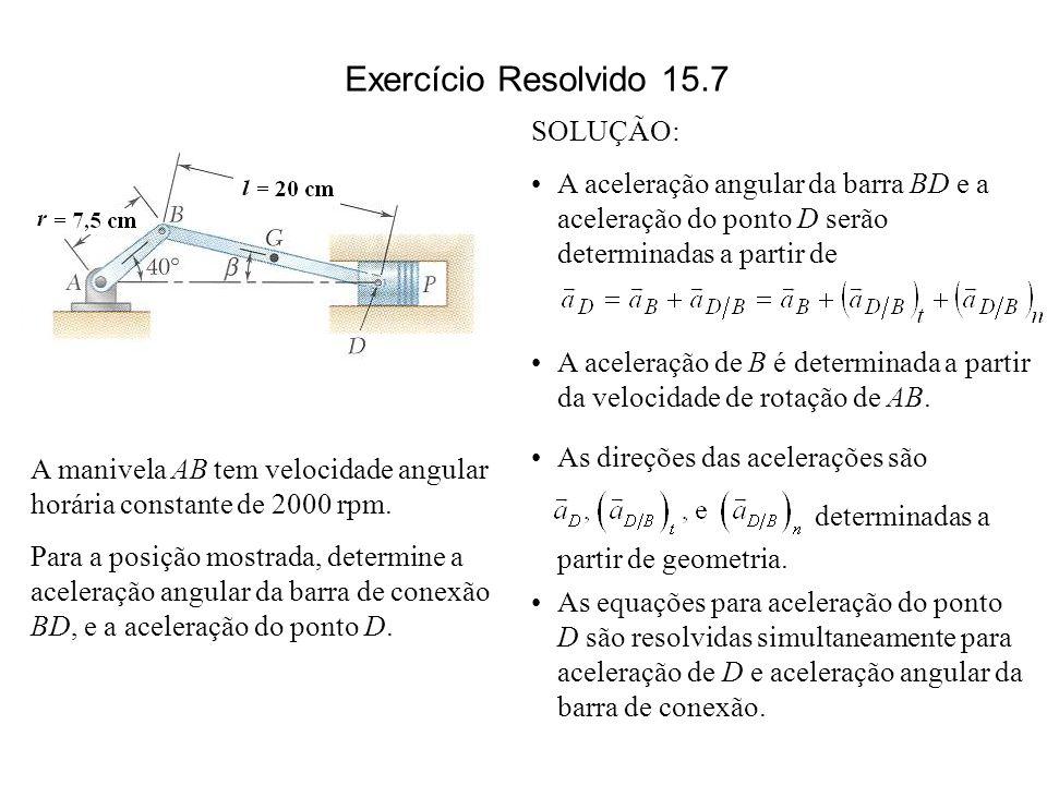 SOLUÇÃO: A aceleração angular da barra BD e a aceleração do ponto D serão determinadas a partir de A aceleração de B é determinada a partir da velocid
