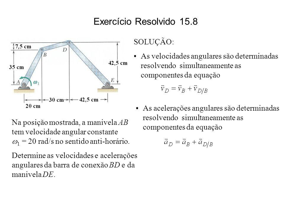 Na posição mostrada, a manivela AB tem velocidade angular constante 1 = 20 rad/s no sentido anti-horário. Determine as velocidades e acelerações angul