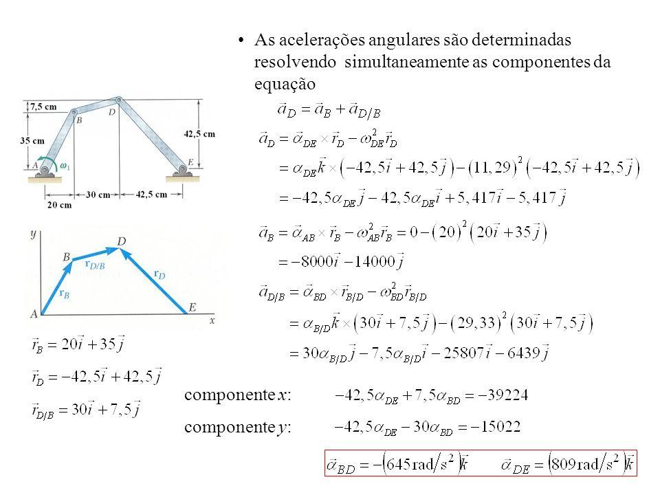componente x: componente y: As acelerações angulares são determinadas resolvendo simultaneamente as componentes da equação