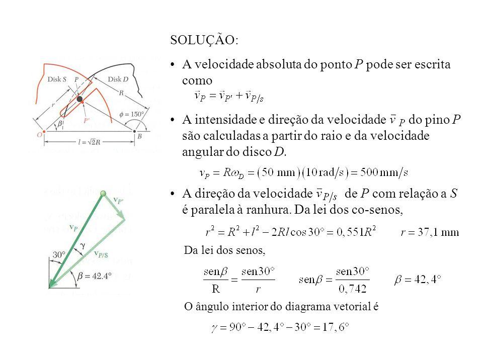 Da lei dos senos, O ângulo interior do diagrama vetorial é SOLUÇÃO: A velocidade absoluta do ponto P pode ser escrita como A intensidade e direção da