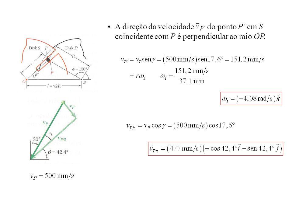 A direção da velocidade do ponto P em S coincidente com P é perpendicular ao raio OP.