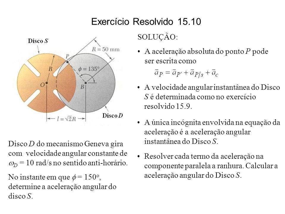A velocidade angular instantânea do Disco S é determinada como no exercício resolvido 15.9. A única incógnita envolvida na equação da aceleração é a a