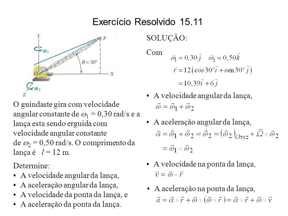 O guindaste gira com velocidade angular constante de 1 = 0,30 rad/s e a lança esta sendo erguida com velocidade angular constante de 2 = 0,50 rad/s. O