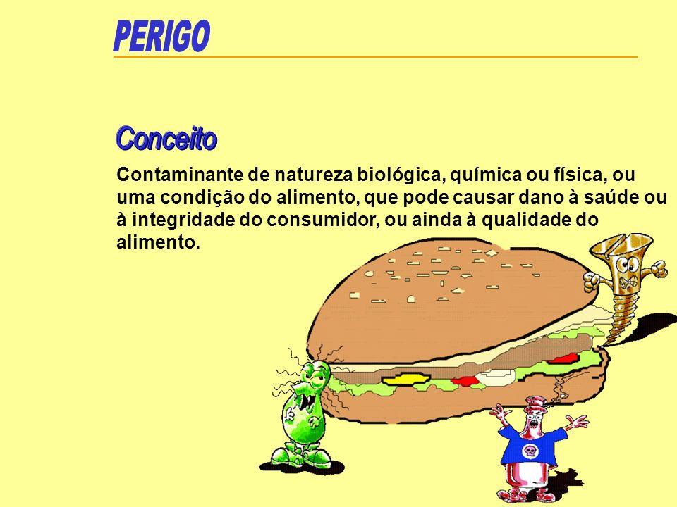 Contaminante de natureza biológica, química ou física, ou uma condição do alimento, que pode causar dano à saúde ou à integridade do consumidor, ou ai