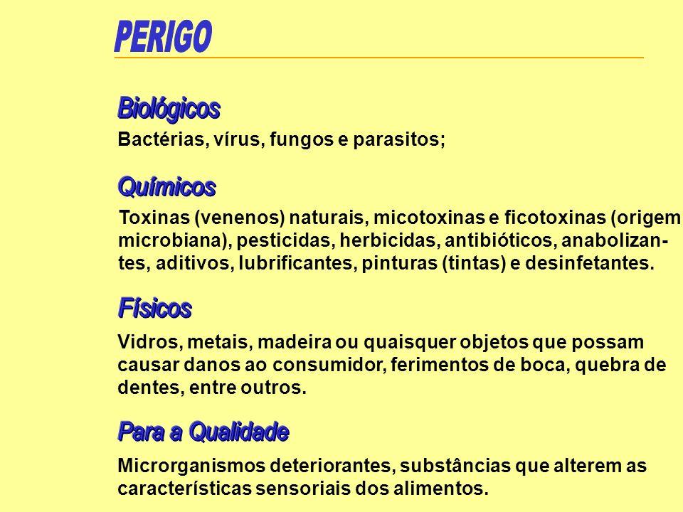 Bactérias, vírus, fungos e parasitos; Toxinas (venenos) naturais, micotoxinas e ficotoxinas (origem microbiana), pesticidas, herbicidas, antibióticos,
