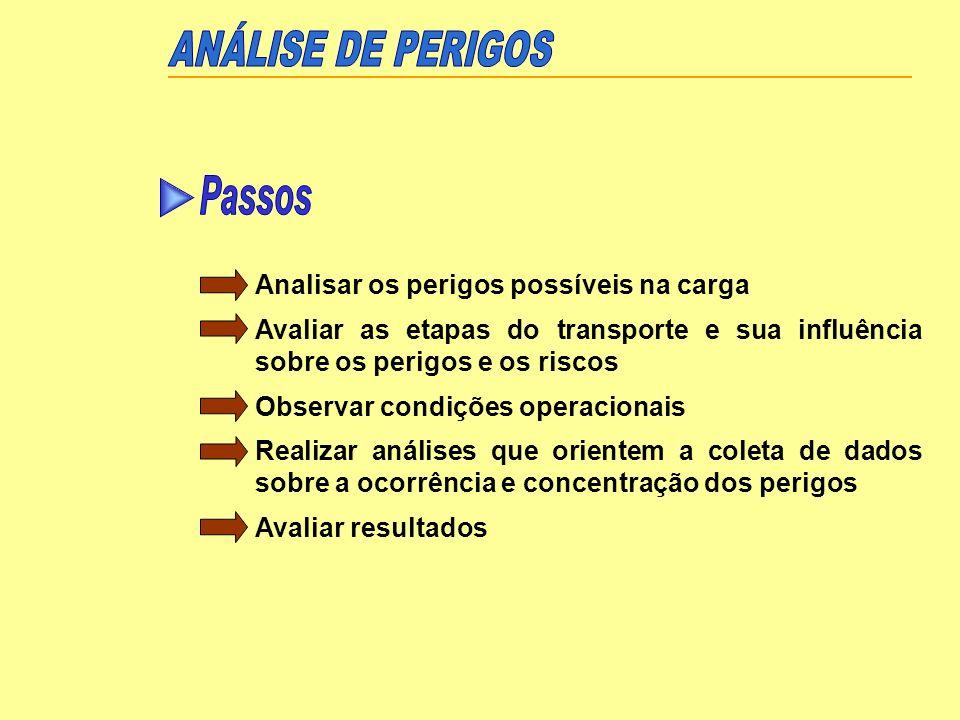 Analisar os perigos possíveis na carga Avaliar as etapas do transporte e sua influência sobre os perigos e os riscos Observar condições operacionais R