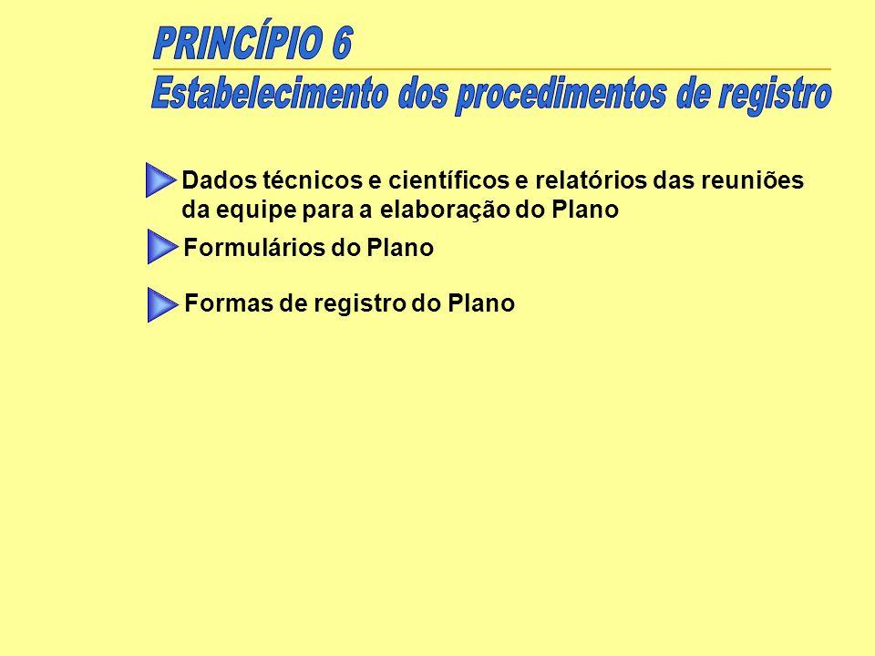 Dados técnicos e científicos e relatórios das reuniões da equipe para a elaboração do Plano Formulários do Plano Formas de registro do Plano