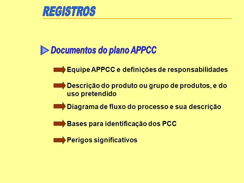 Equipe APPCC e definições de responsabilidades Descrição do produto ou grupo de produtos, e do uso pretendido Diagrama de fluxo do processo e sua desc