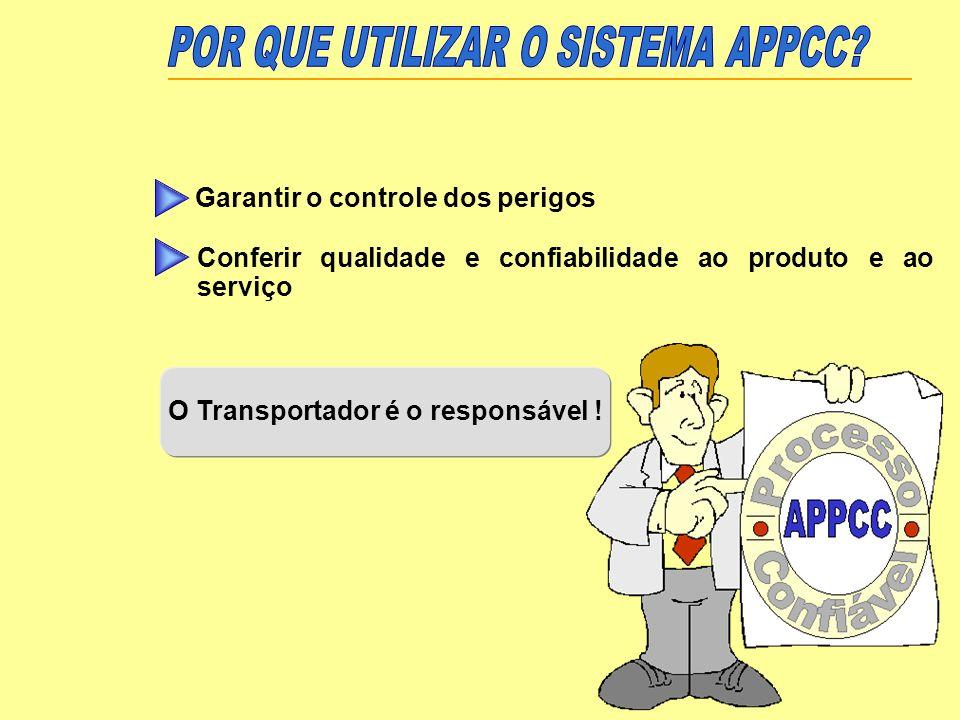 O Transportador é o responsável ! Garantir o controle dos perigos Conferir qualidade e confiabilidade ao produto e ao serviço