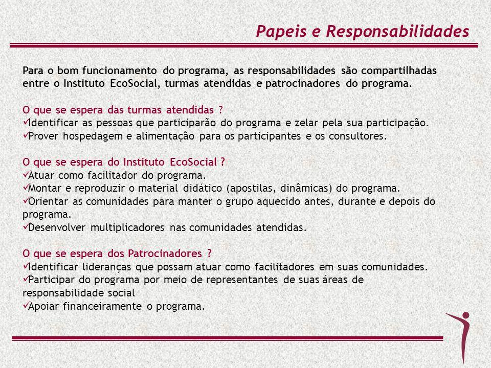 Para o bom funcionamento do programa, as responsabilidades são compartilhadas entre o Instituto EcoSocial, turmas atendidas e patrocinadores do progra