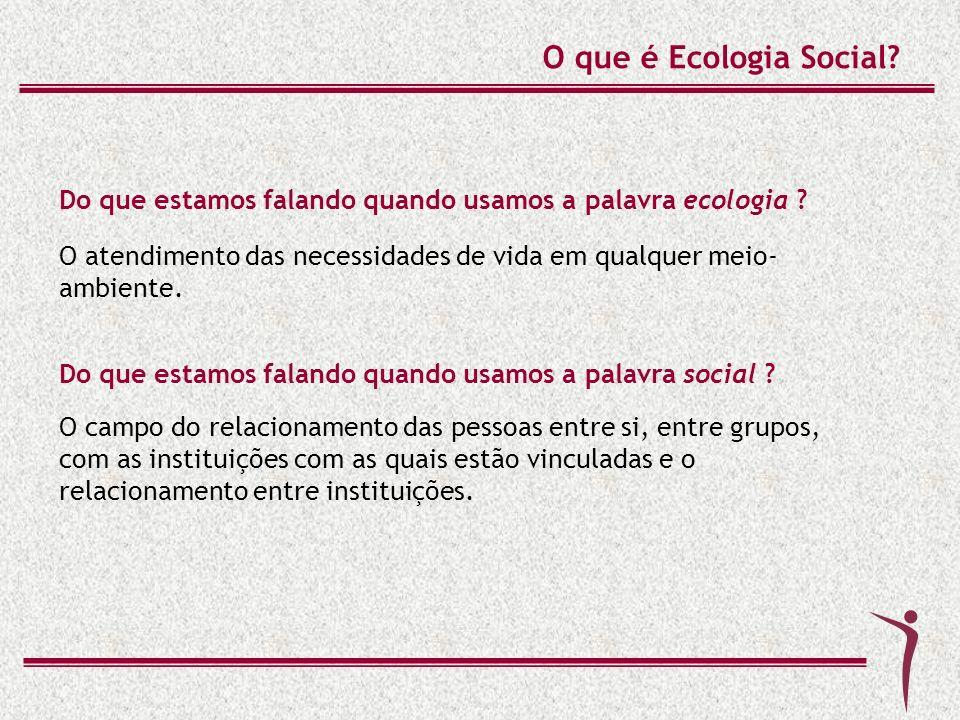 Do que estamos falando quando usamos a palavra ecologia ? O atendimento das necessidades de vida em qualquer meio- ambiente. O que é Ecologia Social?