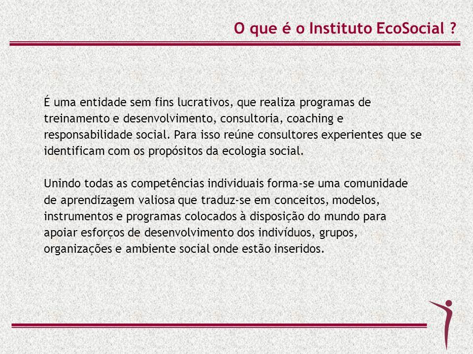 O que é o Instituto EcoSocial ? É uma entidade sem fins lucrativos, que realiza programas de treinamento e desenvolvimento, consultoria, coaching e re