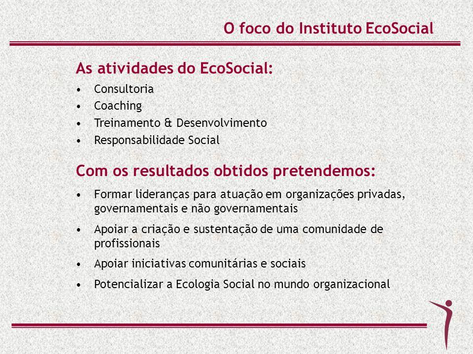 O foco do Instituto EcoSocial Consultoria Coaching Treinamento & Desenvolvimento Responsabilidade Social As atividades do EcoSocial: Formar lideranças