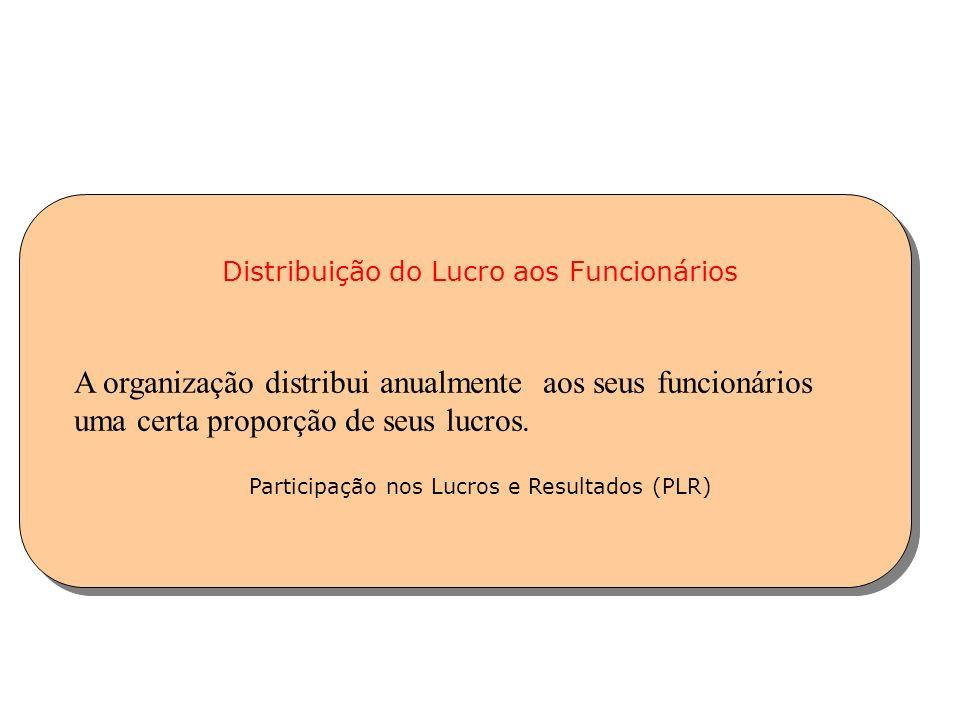 Distribuição do Lucro aos Funcionários Participação nos Lucros e Resultados (PLR) A organização distribui anualmente aos seus funcionários uma certa p