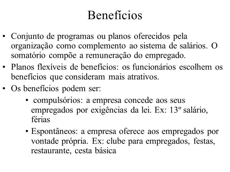 Benefícios Conjunto de programas ou planos oferecidos pela organização como complemento ao sistema de salários. O somatório compõe a remuneração do em