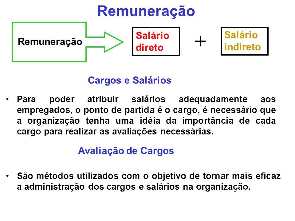 Remuneração Salário direto Salário indireto + Cargos e Salários Para poder atribuir salários adequadamente aos empregados, o ponto de partida é o cargo, é necessário que a organização tenha uma idéia da importância de cada cargo para realizar as avaliações necessárias.