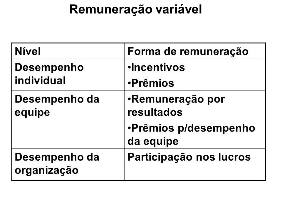 NívelForma de remuneração Desempenho individual Incentivos Prêmios Desempenho da equipe Remuneração por resultados Prêmios p/desempenho da equipe Dese