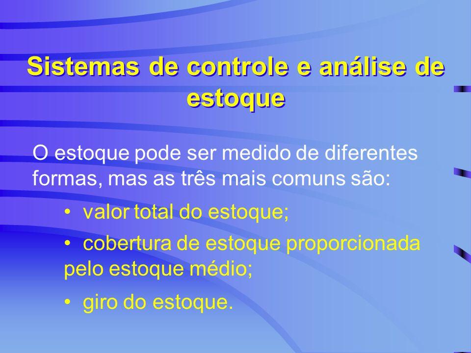 O estoque pode ser medido de diferentes formas, mas as três mais comuns são: Sistemas de controle e análise de estoque valor total do estoque; cobertu