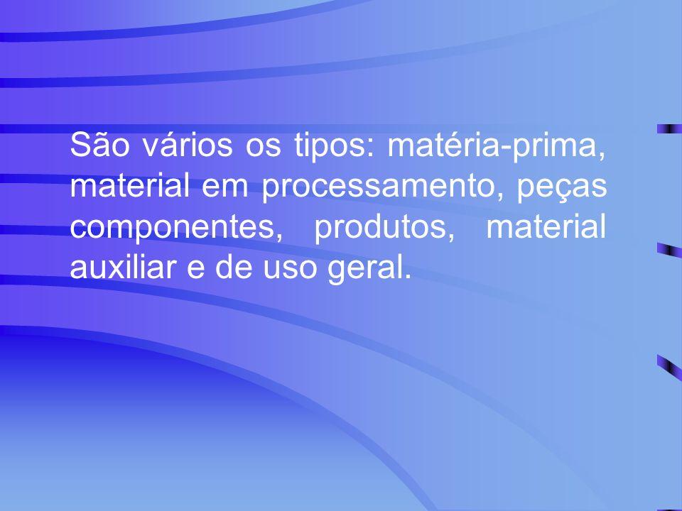 São vários os tipos: matéria-prima, material em processamento, peças componentes, produtos, material auxiliar e de uso geral.