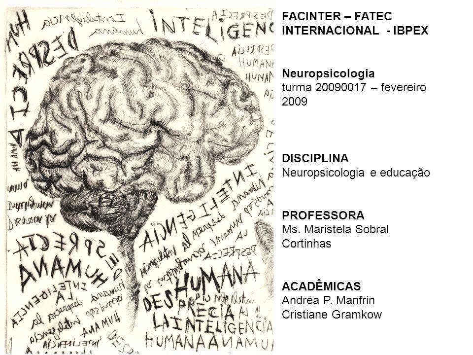 FACINTER – FATEC INTERNACIONAL - IBPEX Neuropsicologia turma 20090017 – fevereiro 2009 DISCIPLINA Neuropsicologia e educação PROFESSORA Ms. Maristela