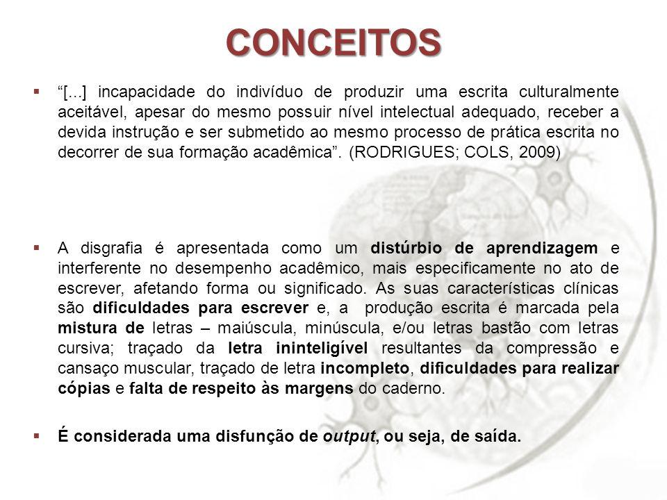 CONCEITOS [...] incapacidade do indivíduo de produzir uma escrita culturalmente aceitável, apesar do mesmo possuir nível intelectual adequado, receber