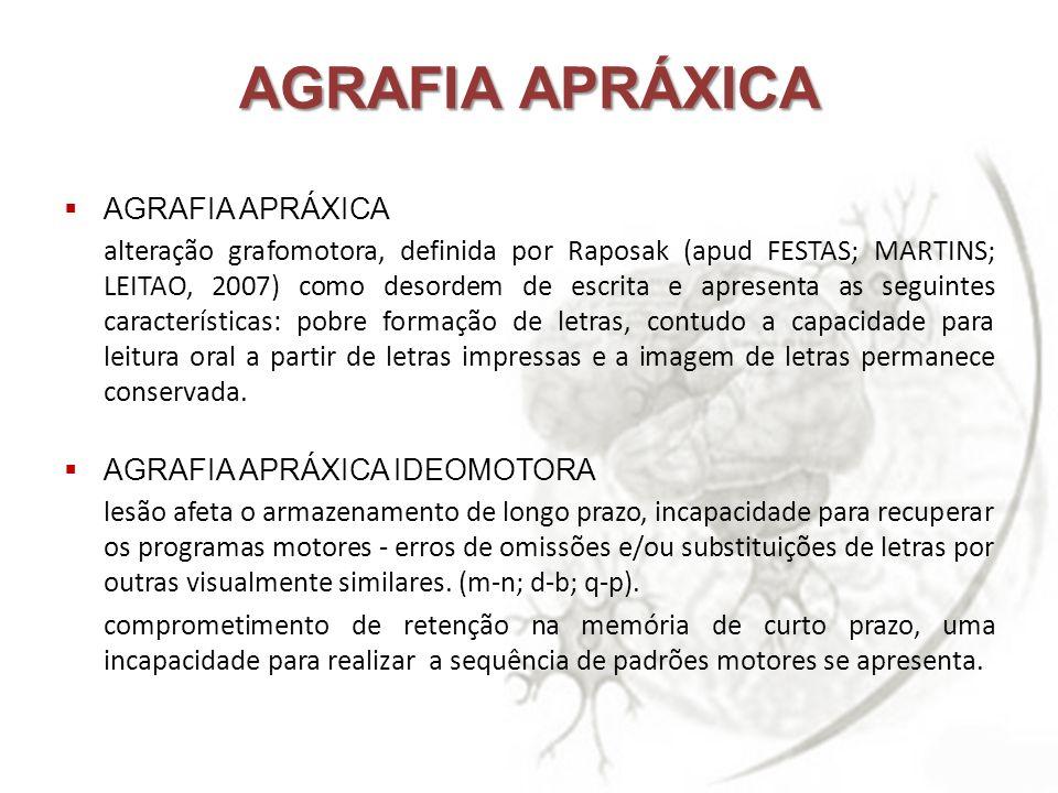 AGRAFIA APRÁXICA alteração grafomotora, definida por Raposak (apud FESTAS; MARTINS; LEITAO, 2007) como desordem de escrita e apresenta as seguintes ca