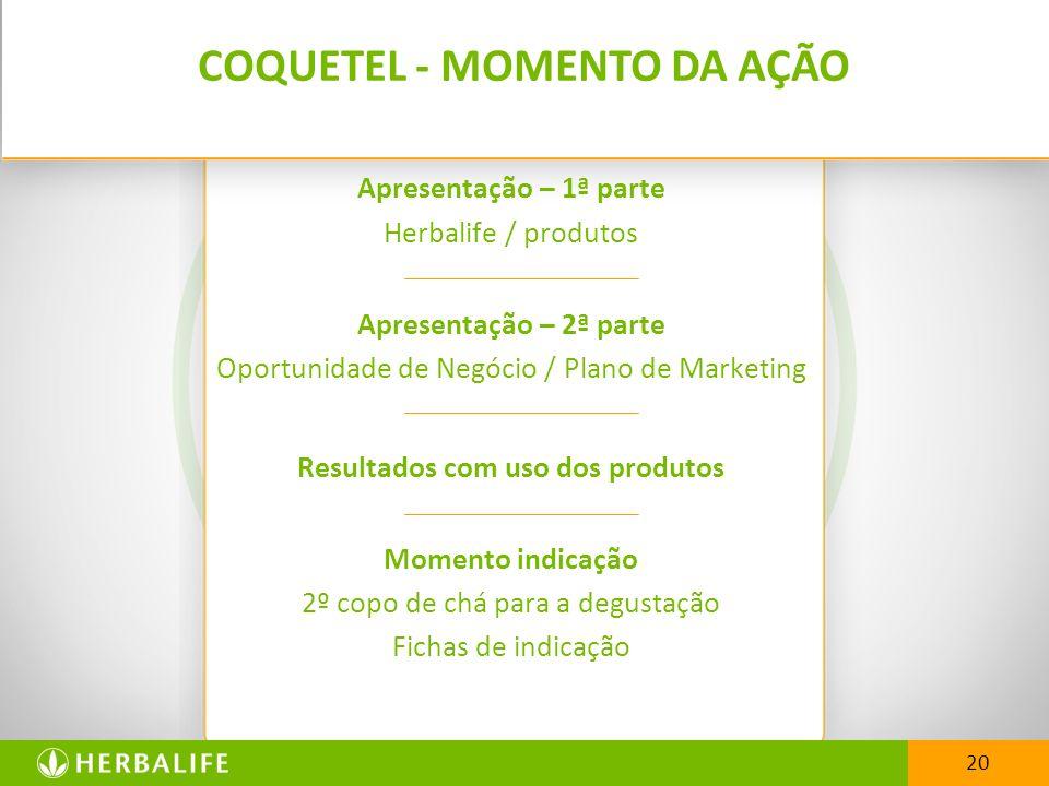 20 Apresentação – 1ª parte Herbalife / produtos Apresentação – 2ª parte Oportunidade de Negócio / Plano de Marketing Resultados com uso dos produtos M