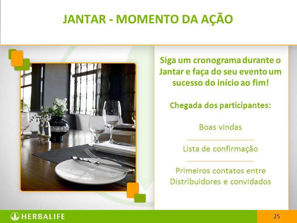 25 JANTAR - MOMENTO DA AÇÃO Siga um cronograma durante o Jantar e faça do seu evento um sucesso do início ao fim! Chegada dos participantes: Boas vind