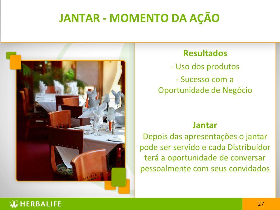 Resultados - Uso dos produtos - Sucesso com a Oportunidade de Negócio 27 JANTAR - MOMENTO DA AÇÃO Jantar Depois das apresentações o jantar pode ser se