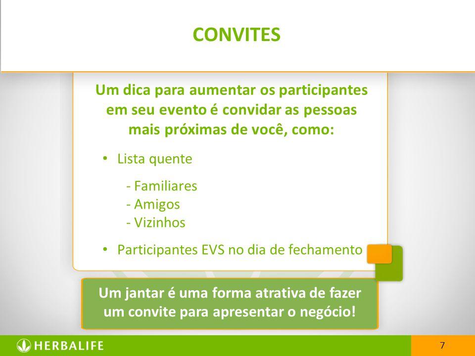 CONVITES Lista quente - Familiares - Amigos - Vizinhos Participantes EVS no dia de fechamento 7 Um dica para aumentar os participantes em seu evento é