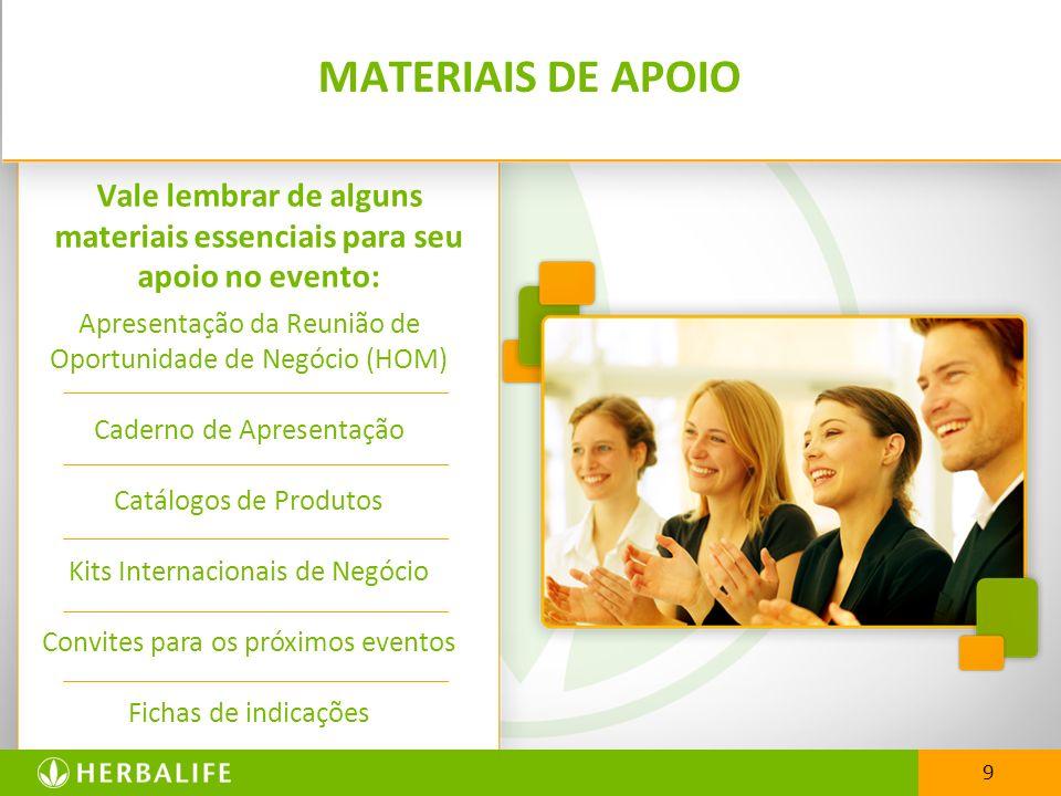 9 MATERIAIS DE APOIO Vale lembrar de alguns materiais essenciais para seu apoio no evento: Apresentação da Reunião de Oportunidade de Negócio (HOM) Ca