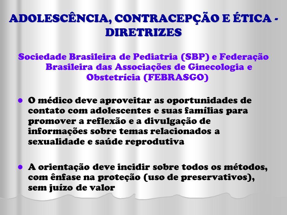 ADOLESCÊNCIA, CONTRACEPÇÃO E ÉTICA - DIRETRIZES Sociedade Brasileira de Pediatria (SBP) e Federação Brasileira das Associações de Ginecologia e Obstet