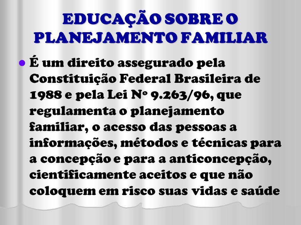 EDUCAÇÃO SOBRE O PLANEJAMENTO FAMILIAR É um direito assegurado pela Constituição Federal Brasileira de 1988 e pela Lei Nº 9.263/96, que regulamenta o