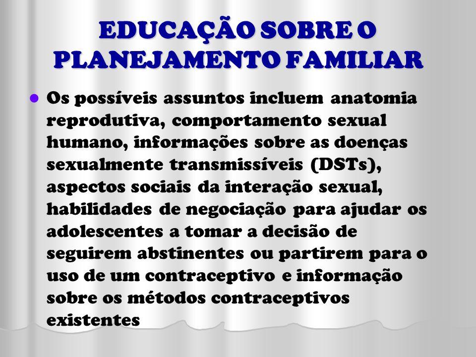 EDUCAÇÃO SOBRE O PLANEJAMENTO FAMILIAR Os possíveis assuntos incluem anatomia reprodutiva, comportamento sexual humano, informações sobre as doenças s