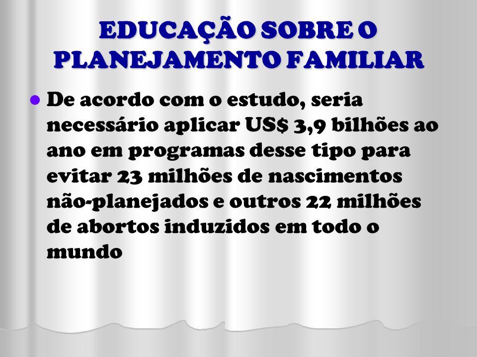 EDUCAÇÃO SOBRE O PLANEJAMENTO FAMILIAR De acordo com o estudo, seria necessário aplicar US$ 3,9 bilhões ao ano em programas desse tipo para evitar 23
