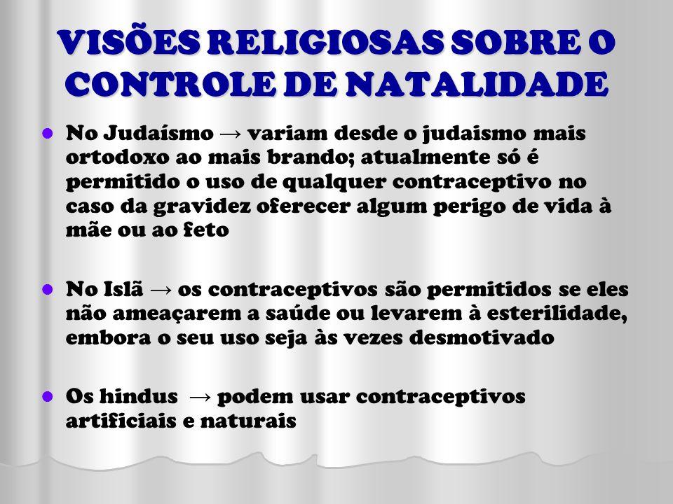 VISÕES RELIGIOSAS SOBRE O CONTROLE DE NATALIDADE No Judaísmo variam desde o judaismo mais ortodoxo ao mais brando; atualmente só é permitido o uso de