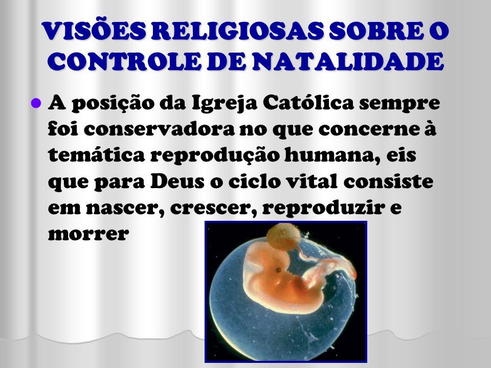VISÕES RELIGIOSAS SOBRE O CONTROLE DE NATALIDADE A posição da Igreja Católica sempre foi conservadora no que concerne à temática reprodução humana, ei