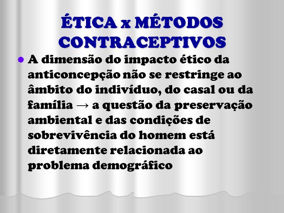 ÉTICA x MÉTODOS CONTRACEPTIVOS A dimensão do impacto ético da anticoncepção não se restringe ao âmbito do indivíduo, do casal ou da família a questão