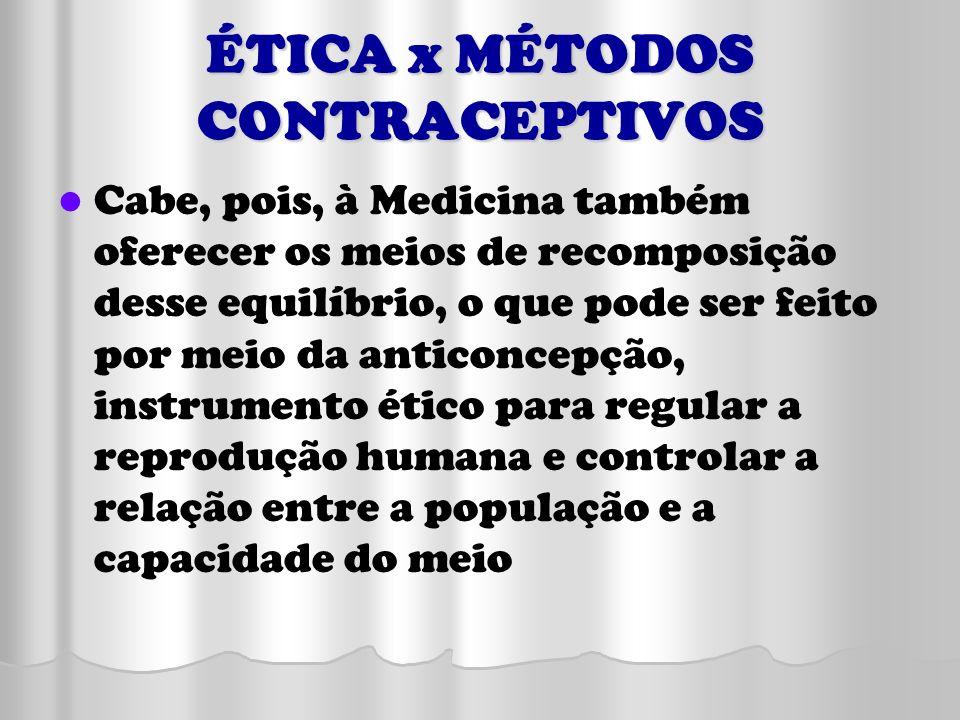 ÉTICA x MÉTODOS CONTRACEPTIVOS Cabe, pois, à Medicina também oferecer os meios de recomposição desse equilíbrio, o que pode ser feito por meio da anti