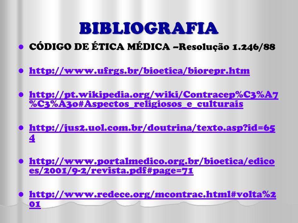 BIBLIOGRAFIA CÓDIGO DE ÉTICA MÉDICA –Resolução 1.246/88 http://www.ufrgs.br/bioetica/biorepr.htm http://pt.wikipedia.org/wiki/Contracep%C3%A7 %C3%A3o#
