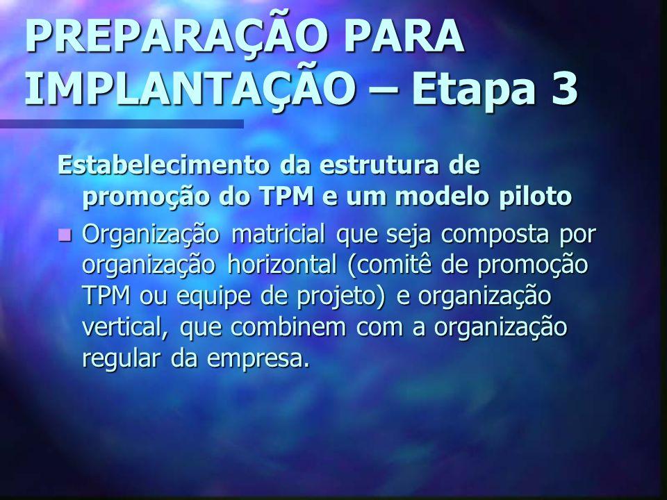 PREPARAÇÃO PARA IMPLANTAÇÃO – Etapa 3 Estabelecimento da estrutura de promoção do TPM e um modelo piloto Organização matricial que seja composta por o