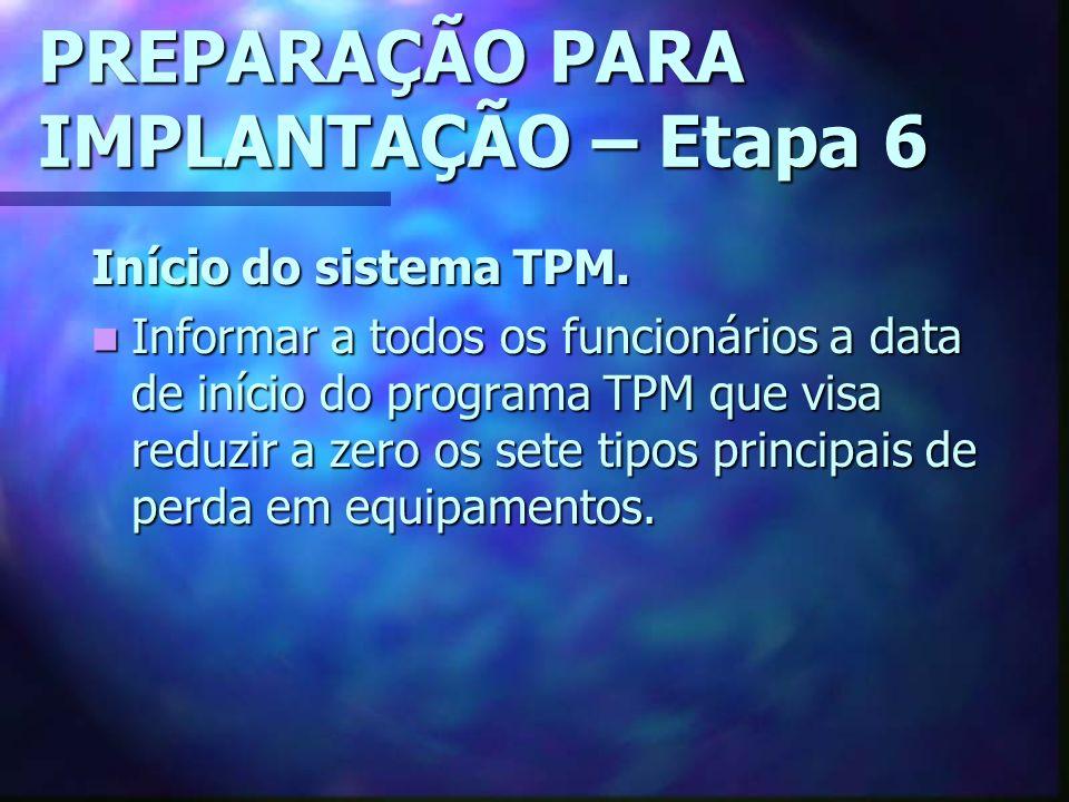 PREPARAÇÃO PARA IMPLANTAÇÃO – Etapa 6 Início do sistema TPM.