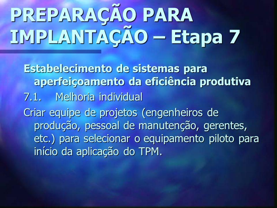 PREPARAÇÃO PARA IMPLANTAÇÃO – Etapa 7 Estabelecimento de sistemas para aperfeiçoamento da eficiência produtiva 7.1.