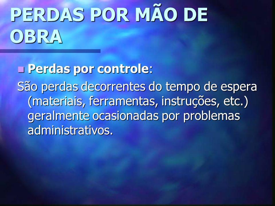 PERDAS POR MÃO DE OBRA Perdas por controle: Perdas por controle: São perdas decorrentes do tempo de espera (materiais, ferramentas, instruções, etc.) geralmente ocasionadas por problemas administrativos.