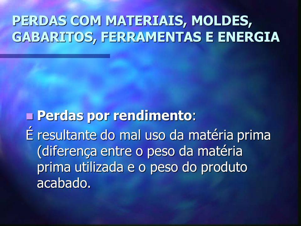 PERDAS COM MATERIAIS, MOLDES, GABARITOS, FERRAMENTAS E ENERGIA Perdas por rendimento: Perdas por rendimento: É resultante do mal uso da matéria prima