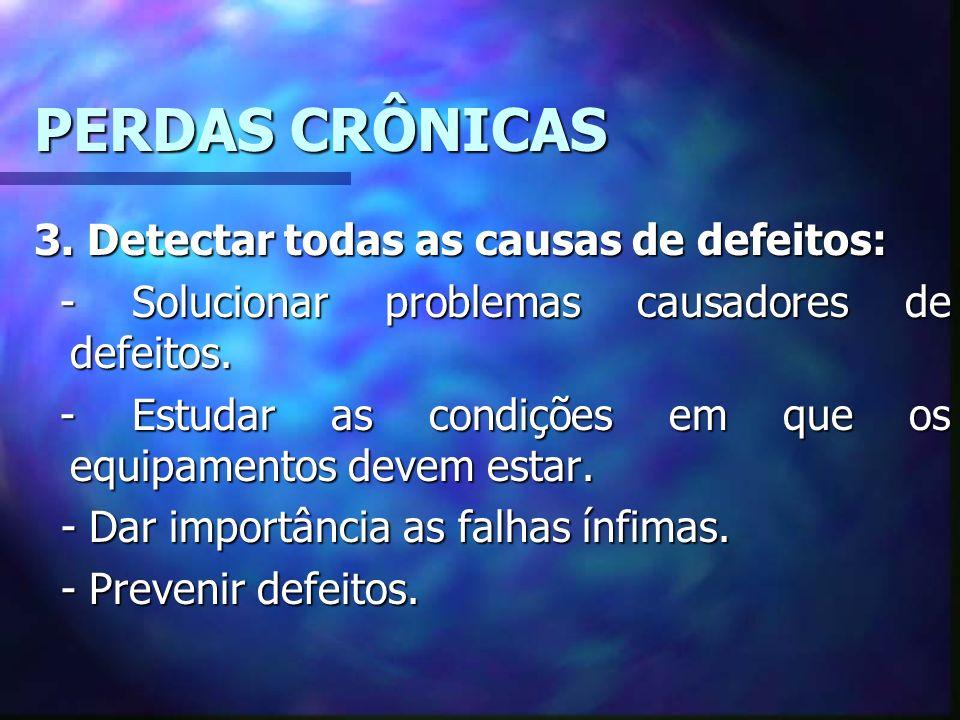 PERDAS CRÔNICAS 3. Detectar todas as causas de defeitos: - Solucionar problemas causadores de defeitos. - Solucionar problemas causadores de defeitos.