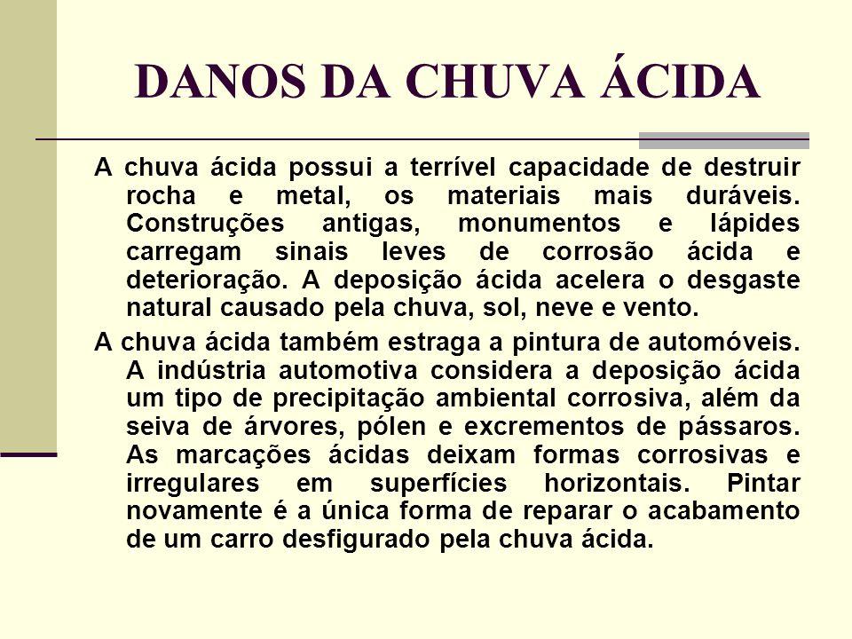 DANOS DA CHUVA ÁCIDA A chuva ácida possui a terrível capacidade de destruir rocha e metal, os materiais mais duráveis. Construções antigas, monumentos